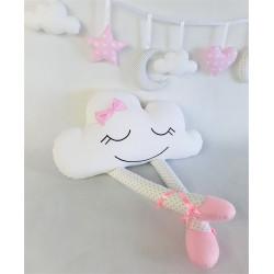 Podusia Chmurka w baletkach :) Biała z delikatnie różowymi i szarymi detalami