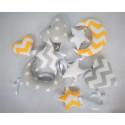 Girlanda Duża Żółto-biało-szara