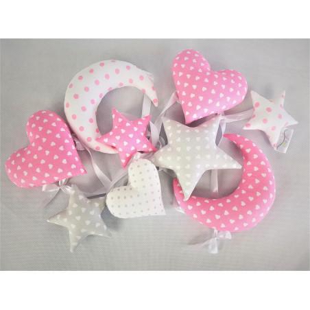 Girlanda w serduszka :)  Różowo-biało-szara