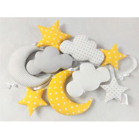 Girlanda chmurkowa :)  żółto-biało-szara - Girlanda