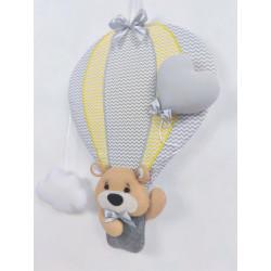Dekoracja Miś w Balonie :) żółto-szary - Dekoracja Miś w balonie żółto-szary