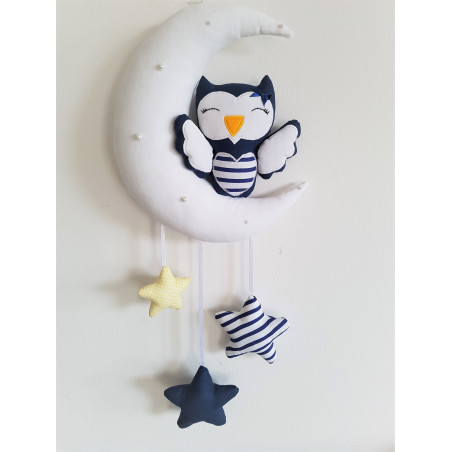 """Decoration above the cot""""Sweet dreams Eschko!"""" Navy blue and yellow in stripes :) Large - 2"""