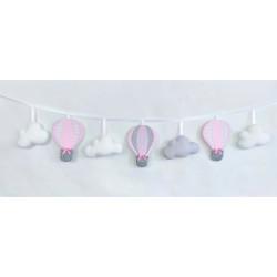 Girlanda z balonami :)  Delikatnie różowo-biała - Girlanda z balonami :) żółto-szara