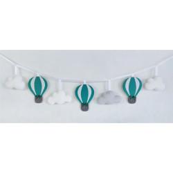 Girlanda z balonami :)  Szmaragdowy, biały i szary - Girlanda z balonami :) błękit, biały , szary
